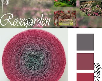 Rosegarden* Merino silk Gradient Yarn hand dyed - Lace weight