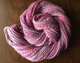 Handspun Yarn, Luxury Weaving Yarn, Natural Wool - Bubble Gum Pink