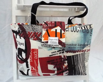 Funky Padded Tote Bag, Magazine, Lettering, Shopping Bag