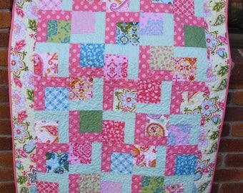 Girls single bed quilt - handmade - 100% cotton fabric -