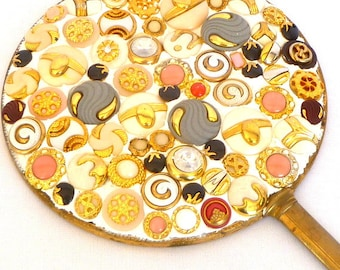 ANTIQUE HAND MIRROR/ Repurposed with Vintage Buttons