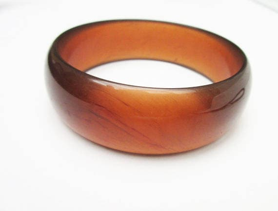 Brown Lucite Bangle - Marbled - Root Beer Brown - Mid Century Mod  bracelet