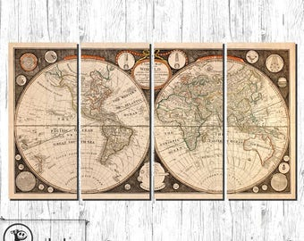 Canvas Art antique world wall map - LARGE fabric on 4 panels and ready to be hanged on the wall, 005