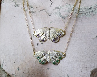 Ghost Moth // Gold Plated Art Deco Moth Necklace w/ White Patina, Light Amethyst or Green Swarovski Crystals, Goth Boheme Witchy Oddities