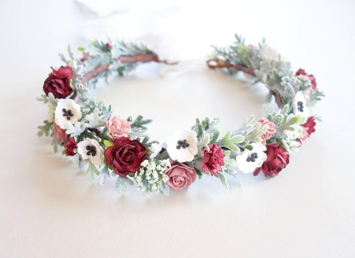 Burgundy flower crown christmas flower crown bridal flower zoom izmirmasajfo Images