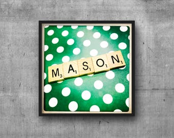 MASON - Name Art - Scrabble Tile Name - Art Photo - Photography Art Print - Name Sign