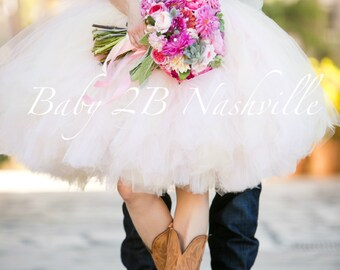 Blush Pink Tulle Skirt Adult Tutu  Rustic Cowgirl Wedding Tutu Perfect for Weddings and Portraits