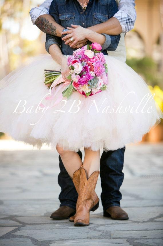 Wedding Dress Tulle Skirt Blush Adult Tutu Pink Rustic Cowgirl Short Knee Length