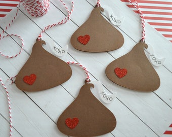 Valentine's Day Gift Tags, Valentine Tags, Kisses, Valentine Chocolate, Valentine Gift, Holiday Gift Tags, I love You, Hang Tags, Gift Tag