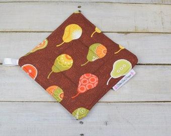 Pot Holder, Hot Pad, Potholder, Fabric Pot Holder, Fabric Hot Pad, Oven Potholder, Oven Hot Pad, Kitchen Potholder-Brown Pears