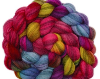 Hand dyed roving - Merino Humbug wool combed top spinning fiber - 3.9 ounces - In the Mood 2