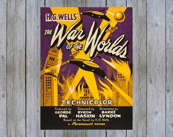1953 The War of the Worlds vintage science fiction movie poster print