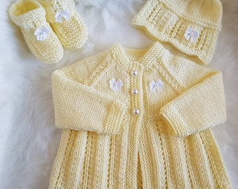 Cariad Knitting pattern for a cardigan, hat and booties 0-3mths *Instant Download*
