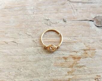 Septum Ring , Nose Ring , Rose Flower Gold Septum piercing , 20 gauge 8mm,10mm inner diameter , Cartilage Ring , Helix Earring.