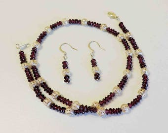 Garnet and Sterling Silver Necklace and Matching Drop Earrings