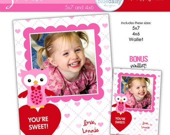 SWEET Valentines Custom Photo Card  4x6 and 5x7 BONUS WALLET Size - Photographer Templates