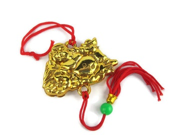Vintage lucite  Reclining Laughing Buddha with Giant Gold Ingot Feng Shui Silk Cord  Tassel Hanger Purse Charm  Zipper Pull
