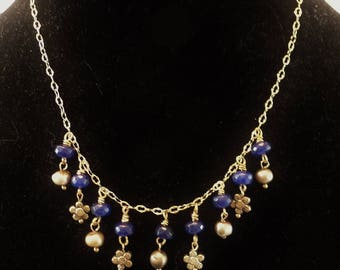 Sapphire and dyed gold freshwater pearls
