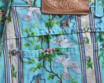 Vintage Sportmax pants, summer blue pants, flowers and birds print, high waist pattern pants, designer pants, Made in Italy