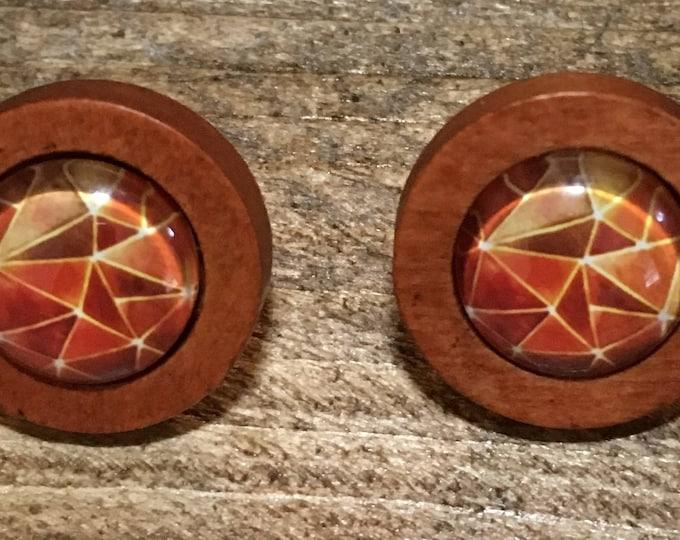 Stud Earrings - Stud Earrings - earrings - glass cabochon - stainless steel-wood