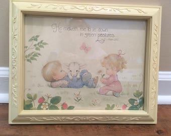 Darling 1970s Framed Print Featuring Verse from Psalm 23 - Perfect for Child's Room