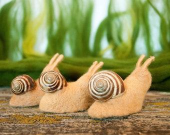 Needle felted snail, Waldorf toys, Miniature Snail Figurines, Fairy Miniatures, Garden Snails, tiny snail,  fairy garden, garden critters