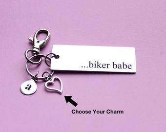 Personalized Biker Babe Key Chain Stainless Steel Customized with Your Charm & Initial - K212