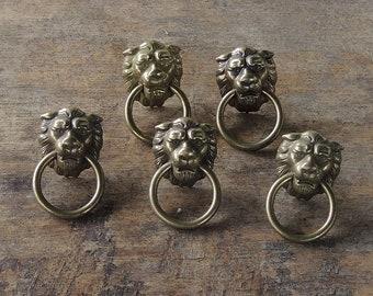 Antique Brass Lion Head Ring Drawer Pulls Set of 5, Decorative Knobs, Cabinet Knobs, Furniture Restoration, Home Improvement