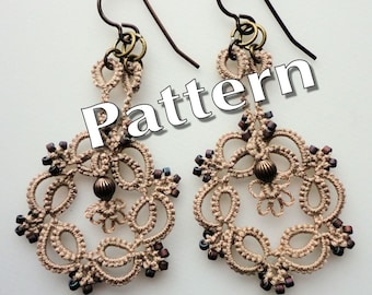 "Tatting Pattern ""Kinetic Earrings"" PDF Instant Download"