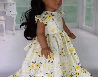 18 inch doll dress.  Fits American Girl dolls. Yellow and green ruffled dress.