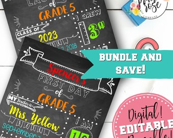Printable & Editable First AND Last Day of School Chalkboard Sign Bundle- DIGITAL DOWNLOAD