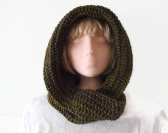Unique Design Hooded Scarf - Greens and Browns for Men and Women, Hood & Scarf Combo, Hoodie, Fashion Accessories, Winter Warmers