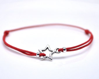 Silver star bracelet red cord