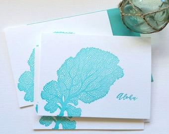 Coral Letterpress Greeting Cards Aloha Mahalo Folded Aqua Blue