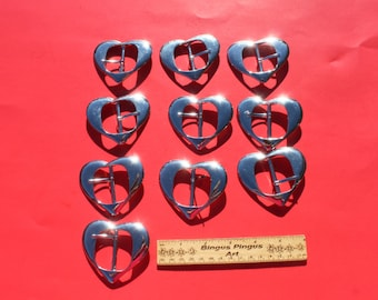 Vintage Large Silver Coated Plastic Heart Shaped Belt Buckles, NOS Craft Jewelry, Lot of 10