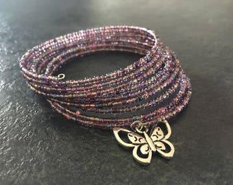 Purple seed bead memory wire bracelet handmade