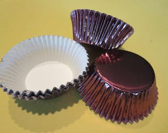48 Brown Foil Standard Size Cupcake Liners Baking Cups Wrappers Baking Supplies Jenuine Crafts