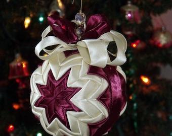 "Burgundy and White Silk Ribbon Quilted Christmas Ornament - 5"" Diameter - Home Decor - Christmas Decor - Tree Decor - Ribbon ball - Ornament"