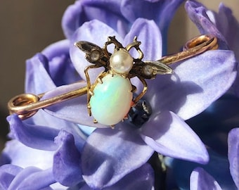 Antique (1891) Victorian Opal & pearl Fly / Insect Pin 9ct