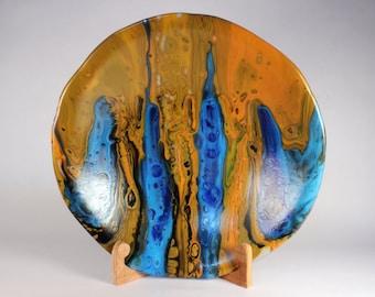 Long Lakes, kilnformed glass bowl