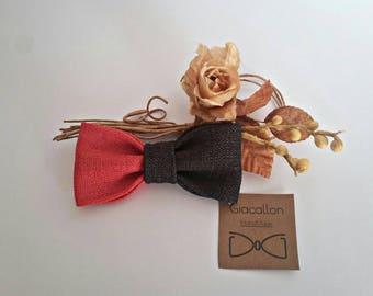 Gift Idea, birthday, Papillon dark grey man-red, bicolor, casual, accessory for him, boy, bow tie. Confirmation/Wedding/Graduation