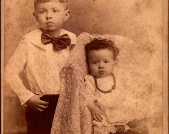 antique cabinet photograph of two children from memphis tennessee