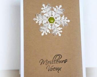 Kraft snowflake embossing layer greeting card best wishes