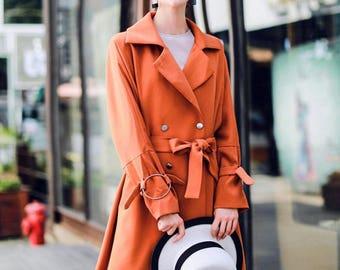Vibrant Orange Trench Coat