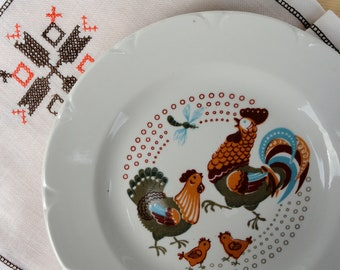 Vintage collectible kids plates Rooster cock ornament Easter chicken dinner plate Russian kitchen nursery soup plate Soviet vintage