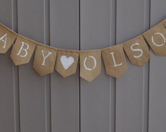 Welcome Baby Banner, Welcome Baby Sign, Custom Baby Banner, Baby Shower Decor, Baby Bunting, Baby Burlap, Gender Reveal, Photo Prop