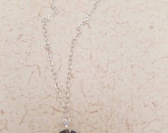 Sterling silver stamped initial disk pendant