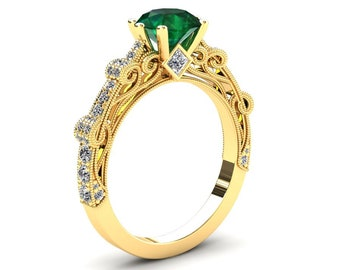 Emerald Engagement Ring 1.50 Carat Emerald And Diamond Ring In 14k or 18k Yellow Gold. Style Number CF1GBY