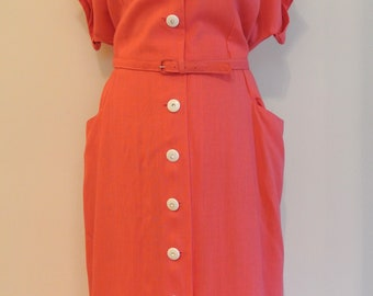 1940s vintage deadstock coral casual day dress