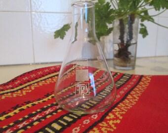 Vintage Glass Flask, Laboratory glass flask, Erlenmeyer Flask, Chemistry Flask, Made in GDR, Chemistry decoration, Vintage home decoration